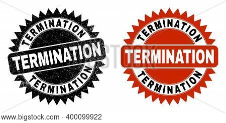 Black Rosette Termination Watermark. Flat Vector Grunge Stamp With Termination Title Inside Sharp Ro