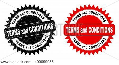Black Rosette Terms And Conditions Watermark. Flat Vector Distress Stamp With Terms And Conditions M