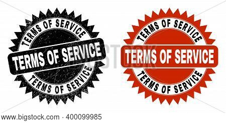 Black Rosette Terms Of Service Seal Stamp. Flat Vector Textured Seal Stamp With Terms Of Service Tex