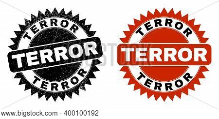 Black Rosette Terror Seal Stamp. Flat Vector Distress Seal Stamp With Terror Caption Inside Sharp St