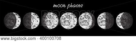 Moon Phases. Moon Phases Icon In Sketch Style Isolated On White Background. Astronomy Icon. Space. E