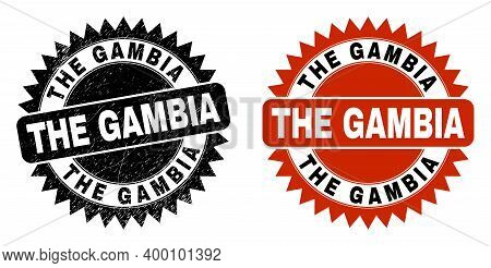 Black Rosette The Gambia Seal. Flat Vector Scratched Seal Stamp With The Gambia Message Inside Sharp