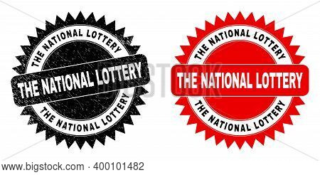 Black Rosette The National Lottery Seal Stamp. Flat Vector Grunge Watermark With The National Lotter