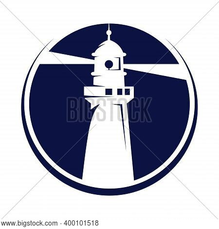 Lighthouse Badges. Nautical Marine Travel Business Symbol Vector Collection. Lighthouse Tower Near C