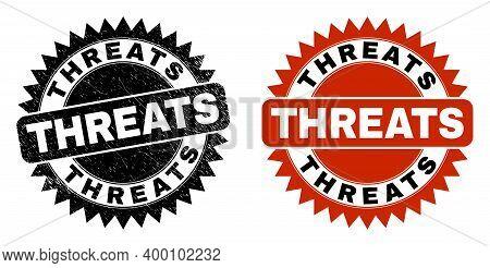 Black Rosette Threats Seal. Flat Vector Grunge Watermark With Threats Phrase Inside Sharp Rosette, A