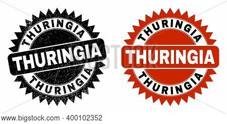 Black Rosette Thuringia Seal Stamp. Flat Vector Grunge Seal Stamp With Thuringia Title Inside Sharp
