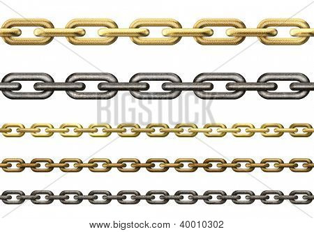 metal chains collection isolated on white