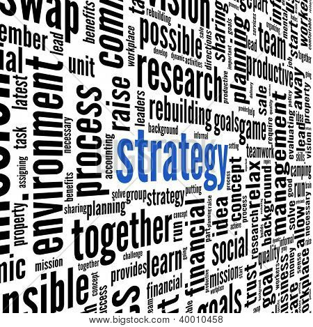Strategy and teamwork concept in word tag cloud