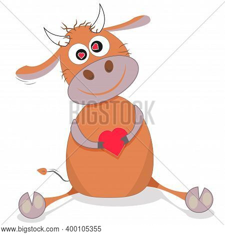 Bull In Love. Vector Cartoon Illustration. Here Is A Bull-boy, He Is Sitting, He Is In Love, He Has