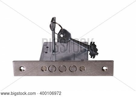 Metal Door Lock With Keys Isolated On White Background