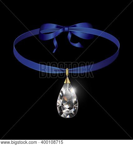 Black Background And Jewel Pendant Crystal With Blue Tape