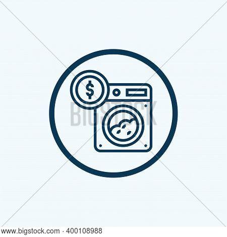 Money Laundering Washing Machine Glyph Icon Vector. Money Laundering Washing Machine Sign. Isolated