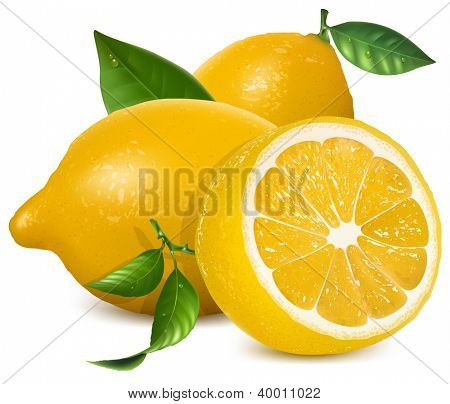 Fresh lemons with leaves. Rasterized version of vector illustration  ID: 118404769