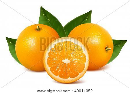 Fresh ripe oranges with leaves. Rasterized version of vector illustration  ID: 78274036