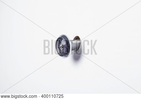 Entrance Door With A Hole For A Glass Peephole And Security Of Residents Of The House, See Who Came,