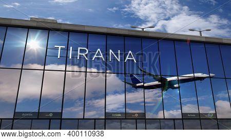 Airplane Landing At Tirana Albania Airport Mirrored In Terminal