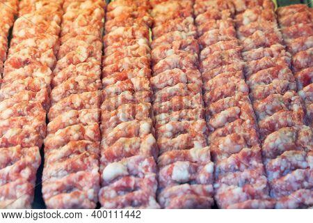 Cooking Raw Pork Kofta Marinated In On A Skewer