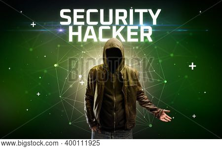 Mysterious hacker with SECURITY HACKER inscription, online attack concept inscription, online security concept