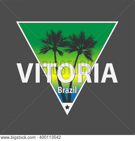 Vitoria Brazil Illustration, Tee Design Logo Sign