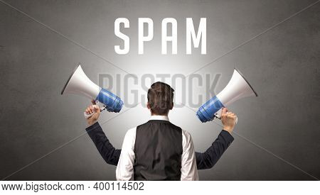 Rear view of a businessman with SPAM inscription, cyber security concept