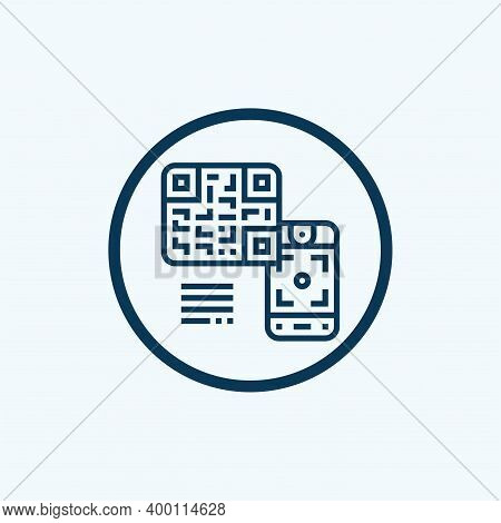 Qr Code Scanning Or Capture Mobile Phone. Read Bar Code, Mobility, Generating App, Coding. Icon Reco