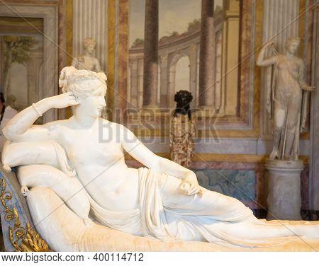 Rome, Italy - August 24, 2018: Detail Of Antonio Canova's Statue Of Pauline Bonaparte, His Masterpie