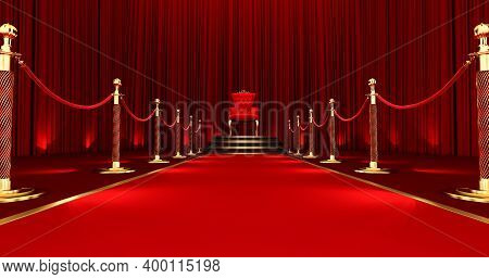 3d Render Of Red Royal Chair. Red Carpet Leading To The Luxurious Throne, Stair And Gold Rope Barrie