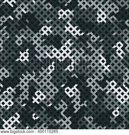 Tundra Camouflage Seamless Pattern. Winter Seamless Artistic Camouflage Net