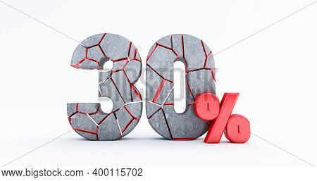3d Render Of  Broken Thirty Percent (30%)  Isolated On White Background, 30 Thirty Percent Sale. Bla