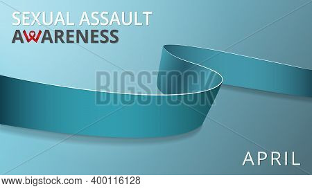 Realistic Teal Ribbon. Awareness Sexual Assault Month Poster. Vector Illustration. World Sexual Assa