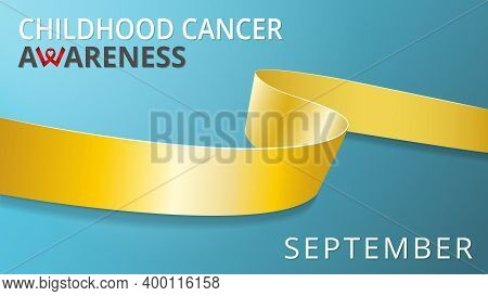 Realistic Gold Ribbon. Awareness Childhood Cancer Month Poster. Vector Illustration. World Pediatric