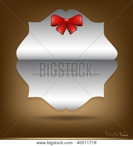 Greeting card with red bow. Vector illustration