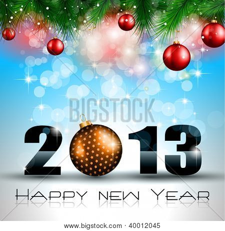2013 New Year Celebration Background with Glitter and Rainbow Colours