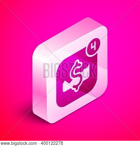 Isometric Mobile Stock Trading Concept Icon Isolated On Pink Background. Online Trading, Stock Marke