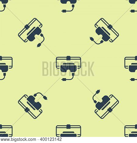 Blue Virtual Reality Glasses Icon Isolated Seamless Pattern On Yellow Background. Stereoscopic 3d Vr