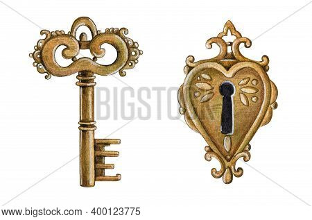 Vintage Metal Key And Keyhole Watercolor Elements. Close Up Realistic Retro Golden Safe Objects. Old