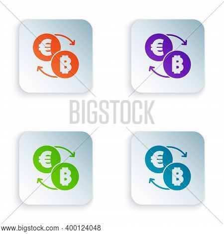 Color Cryptocurrency Exchange Icon Isolated On White Background. Bitcoin To Euro Exchange Icon. Cryp