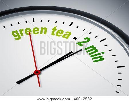 An image of a nice clock with green tea - 2 min