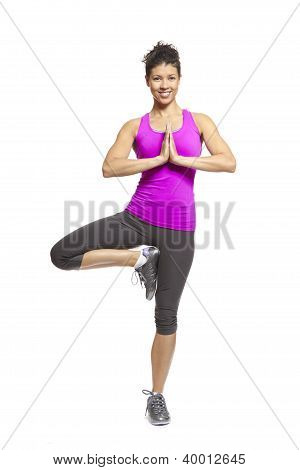 Muscular Young Woman In Yoga Pose Wearing Sports Outfit