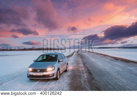 Gomel, Belarus - January 26, 2017: Volkswagen Polo Car Sedan Parking On A Snowy Roadside Of Country