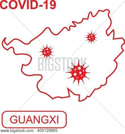 Map Of Guangxi Labeled Covid-19. White Outline Map On A Red Background.
