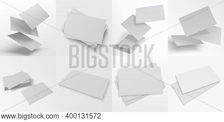 Business Card Mockup. Realistic Blank White Stacks, Sheets Of Paper And Flying Pages. Cardboard Flye