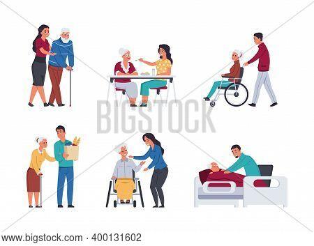 Elder People Care. Volunteers Helping Old People. Isolated Cartoon Young Men And Women Support Retir