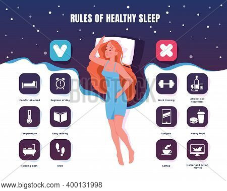 Healthy Sleep. Cartoon Sleeping Young Woman Rest In Bed. Bedtime Rules For Better Relaxation And Wel