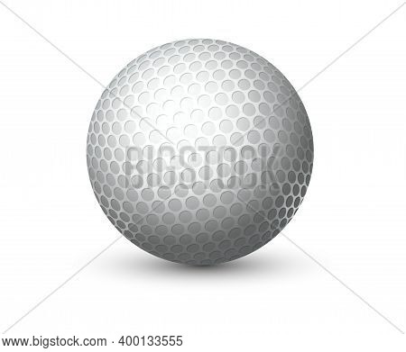 Realistic Equipment For Golf. 3d White Game Ball With Detailed Textured Rough Surface. Professional