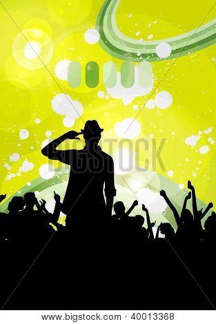 Music event. Dancing people illustration