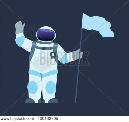 Astronaut With Flag. Cartoon Spaceman Waving Hand And Holding Pennant. Isolated Cosmonaut Wearing Sp