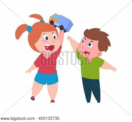 Bad Behavior. Cartoon Brother And Sister Quarrel. Cute Girl Teases Boy With Toy. Isolated Children A