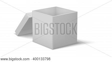 Cardboard Box. Realistic Empty Square Container With Lid. 3d Open Packaging For Holiday Presents And