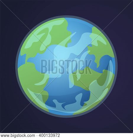 Cartoon Earth. Solar System Planet. Isolated View Of World From Space. America And Europe Or Africa
